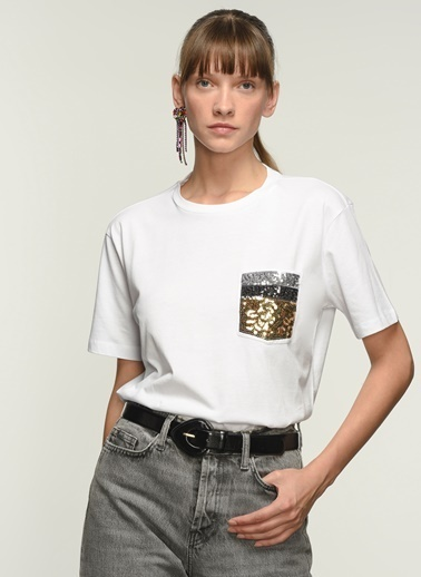NGSTYLE Ngkss21Ts0043 Cep Payet Detaylı Tshirt Beyaz